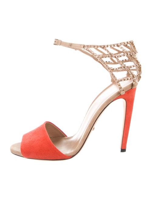 Gucci Suede Colorblock Pattern Sandals Orange