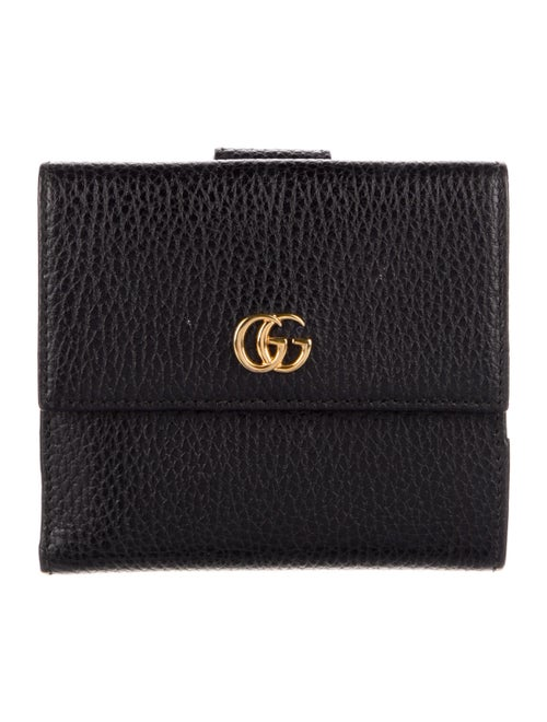 Gucci French Flap Leather Compact Wallet Black