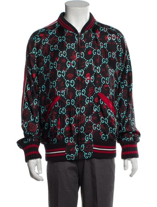 Gucci Silk Floral Print Bomber Jacket Black