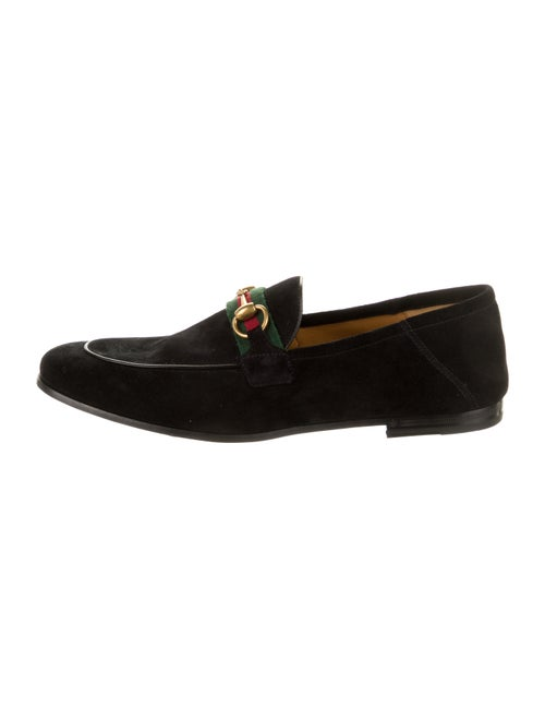 Gucci Web Accent Suede Dress Loafers Black