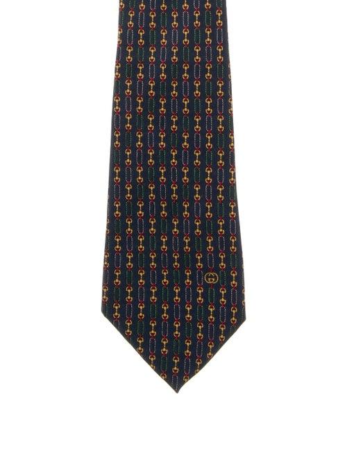 Gucci Vintage Silk Horsebit Tie blue