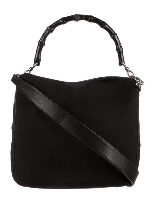 Gucci Vintage Bamboo Nylon Shoulder Bag Black