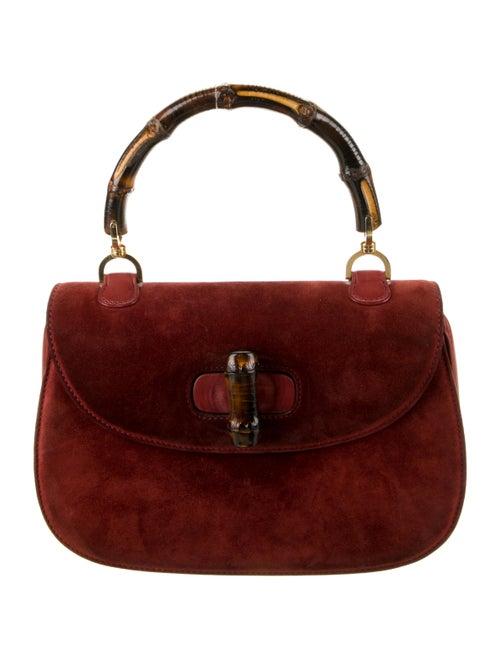 Gucci Vintage Suede Bamboo Top Handle Bag Brown