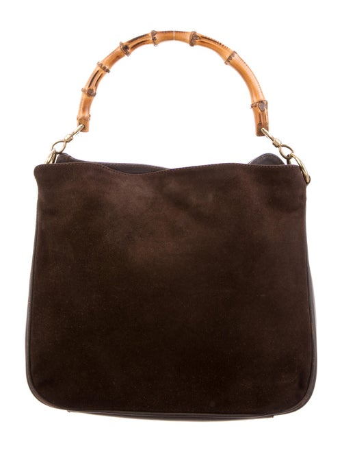 Gucci Bamboo Suede Shoulder Bag Brown