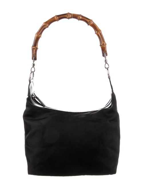 Gucci Nylon Bamboo Shoulder Bag Black