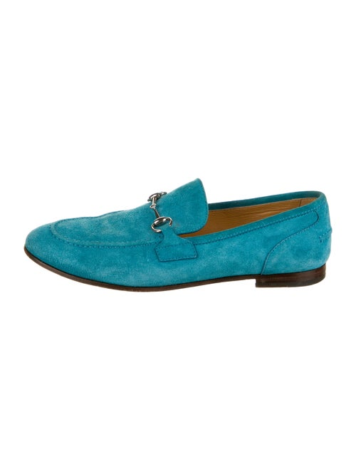 Gucci 1955 Horsebit Accent Suede Loafers Blue