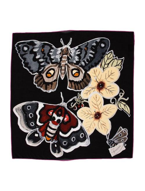 Gucci Silk Floral Print Scarf Black