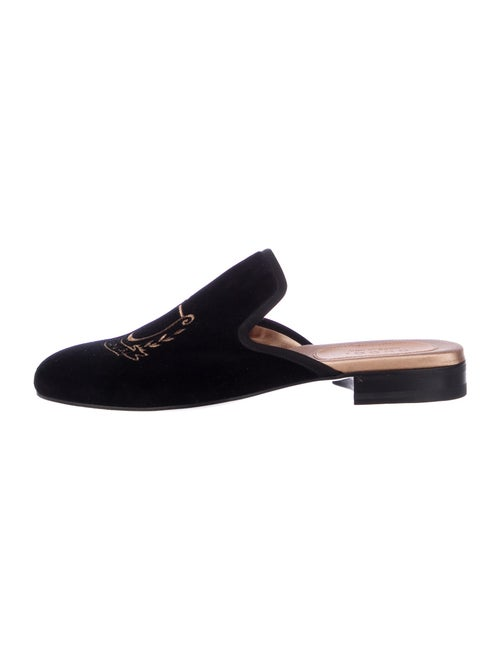 Gucci Embroidered Accent Slippers Black
