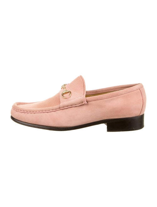 Gucci Horsebit Accent Suede Dress Loafers Pink