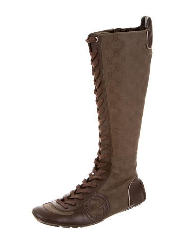 gucci knee high gg canvas boots shoes guc80120 the