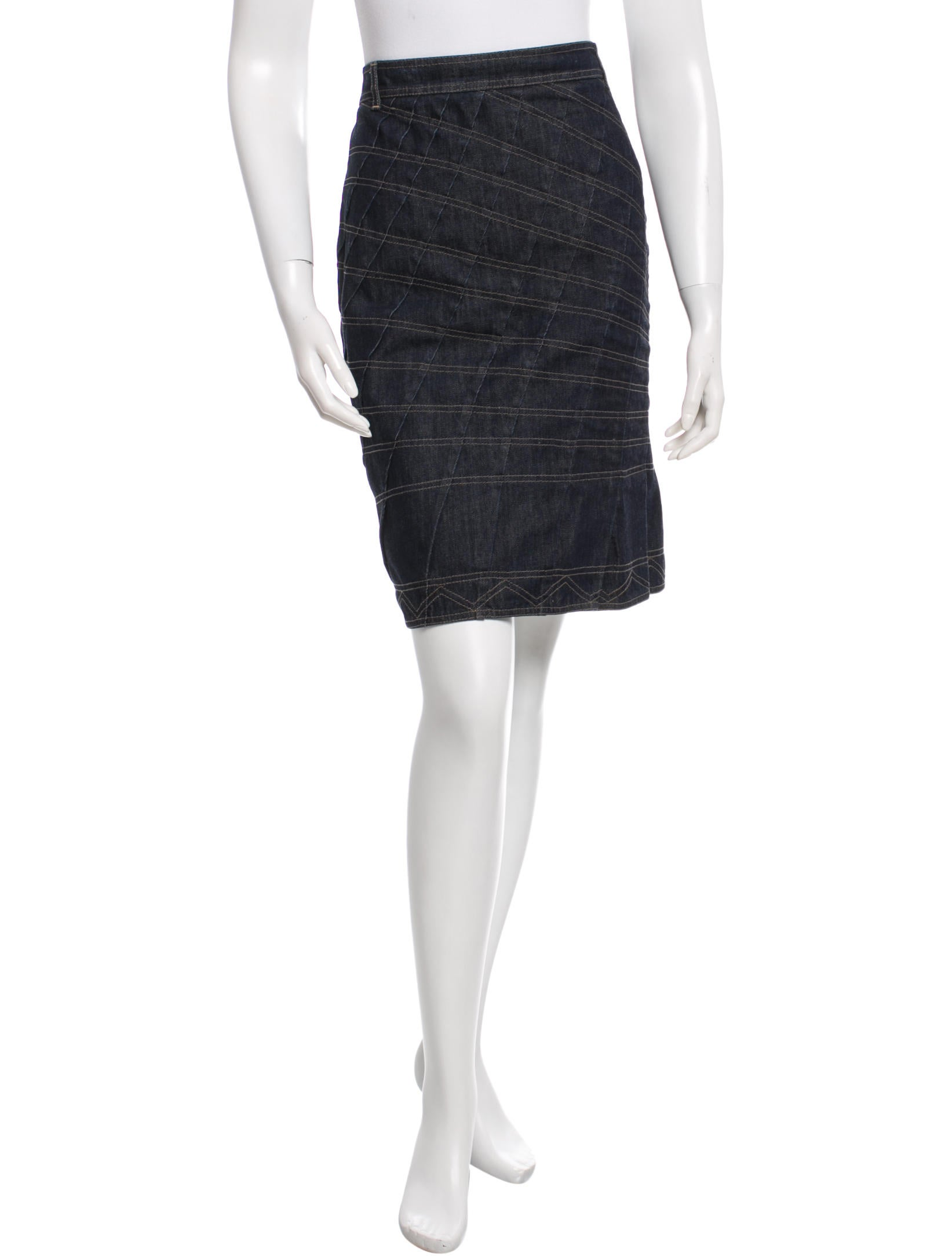 Gucci Pleated Denim Skirt - Clothing - GUC90137 | The RealReal