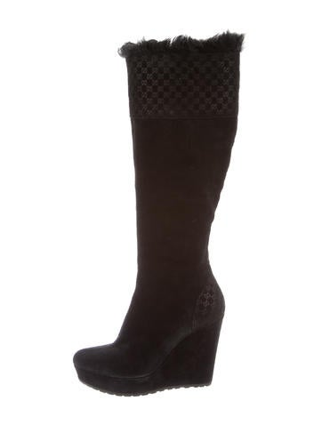 gucci guccissima suede wedge boots shoes guc91679