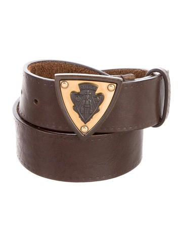 Pebbled Leather Logo Belt