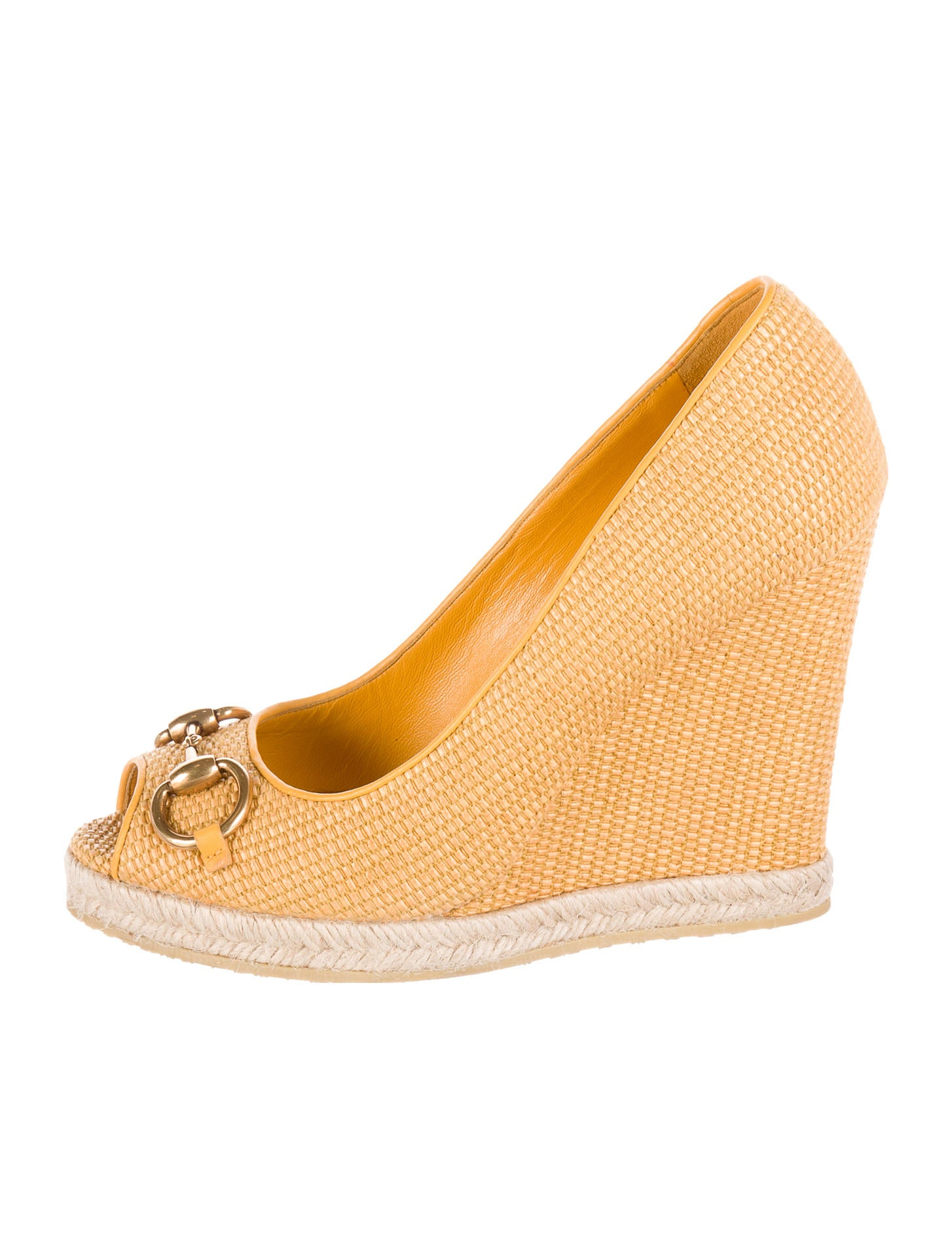 450155a30ff Gucci Raffia Horsebit Wedges - Shoes - GUC94705