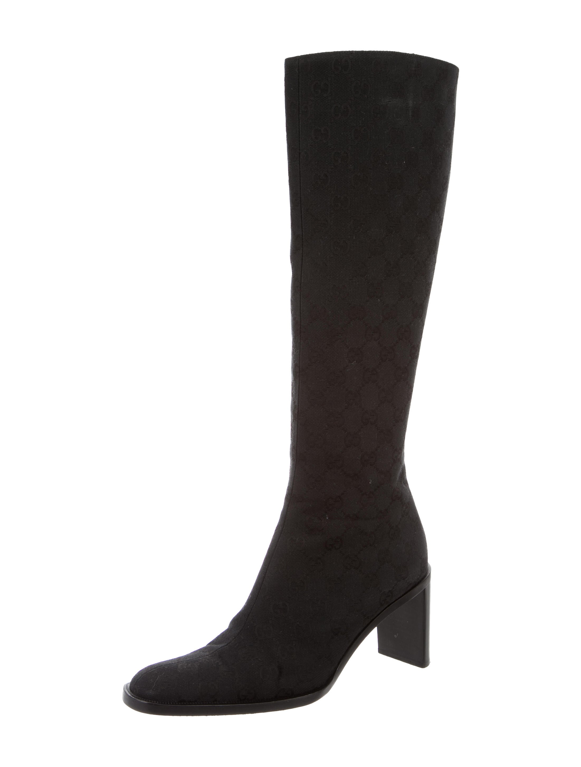 gucci gg canvas knee high boots shoes guc96840 the