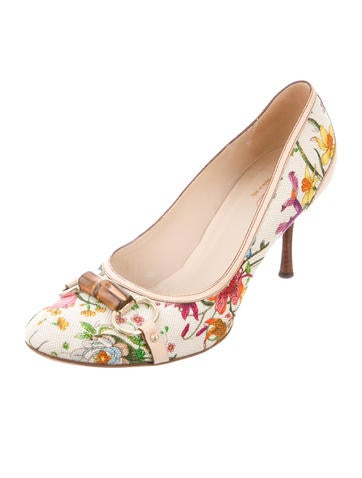Flora Bamboo Round-Toe Pumps