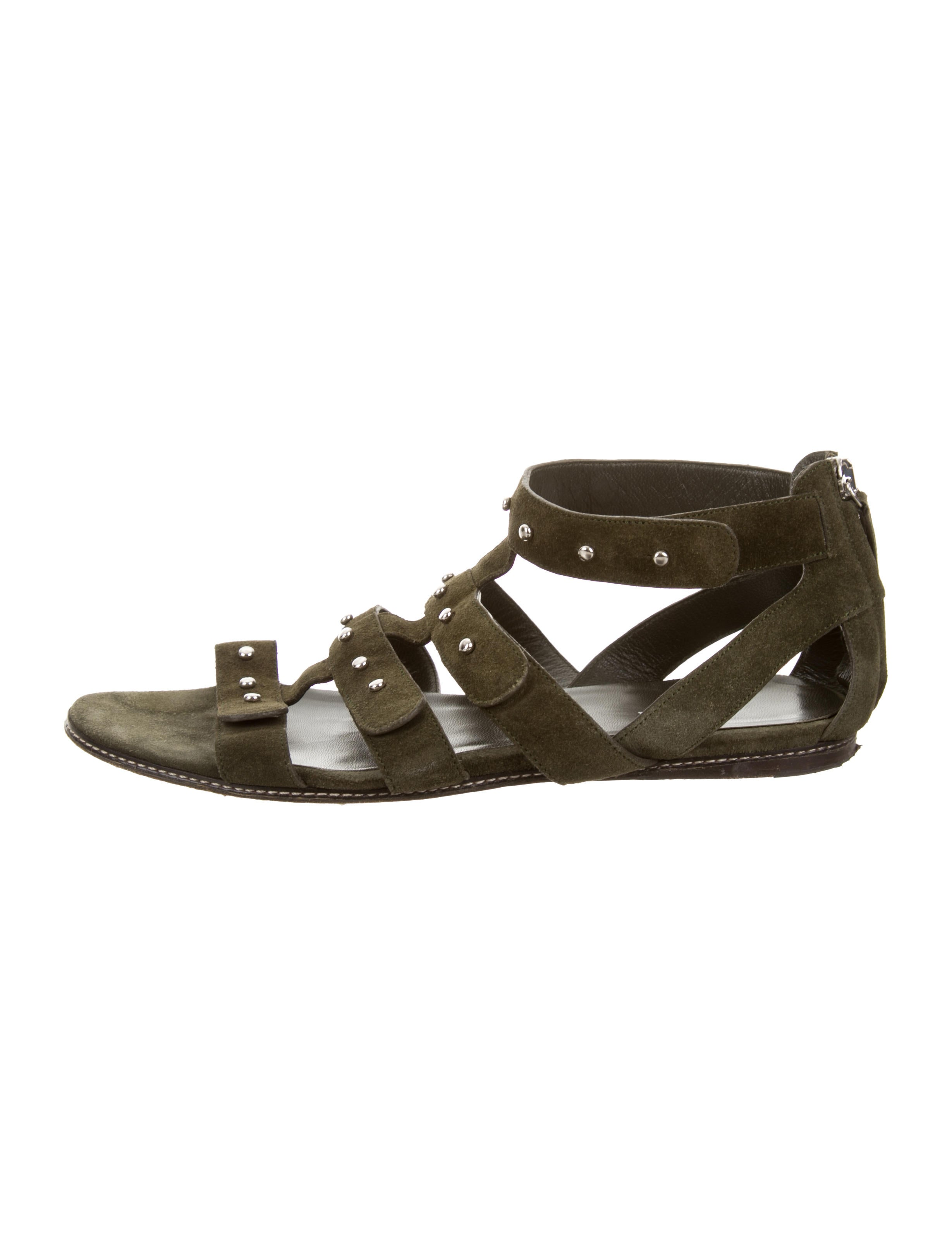 gucci suede studded sandals shoes guc99628 the realreal