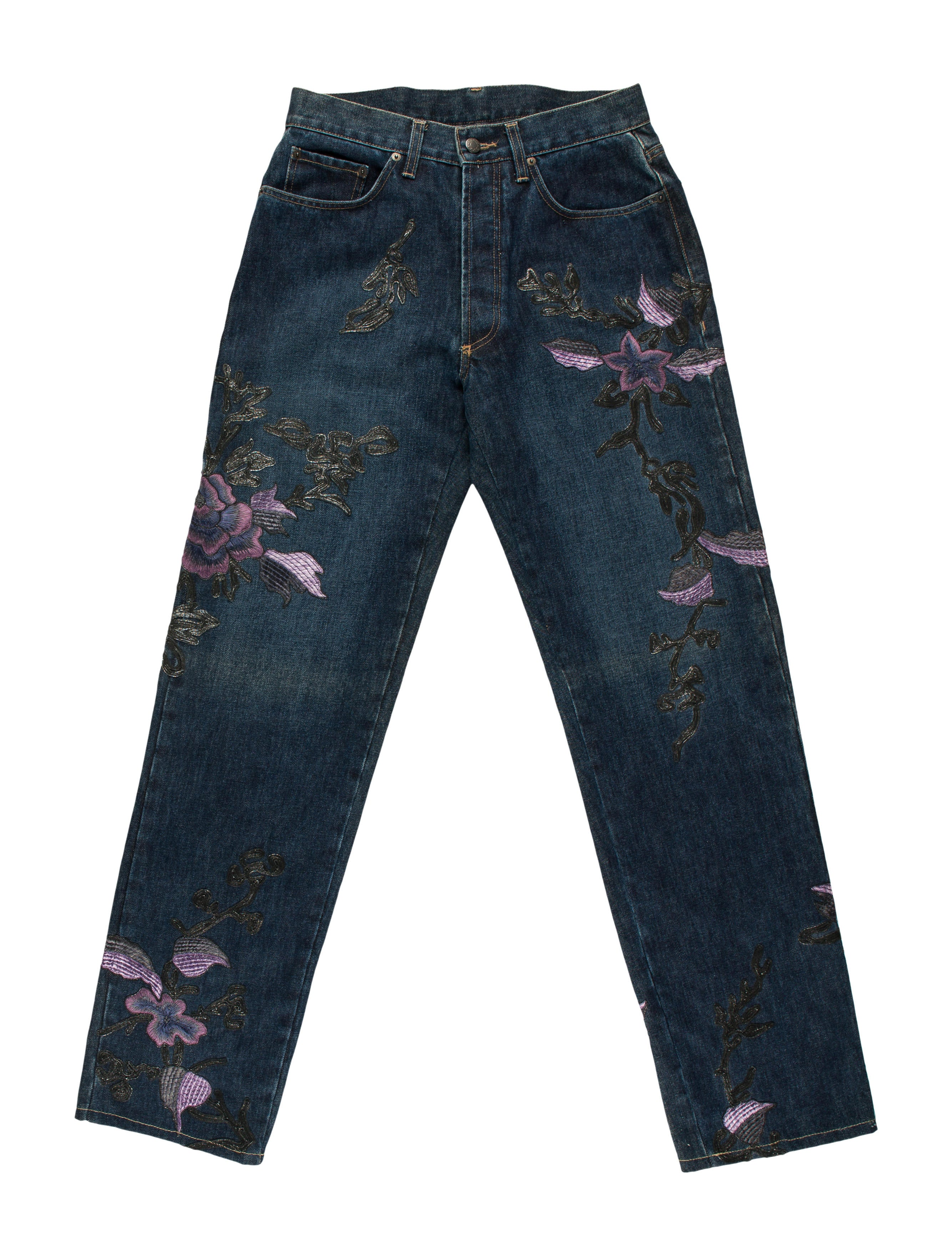 Gucci floral embroidered jeans clothing guc the