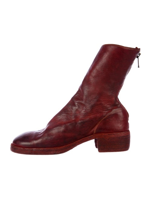 Guidi Leather Distressed Accents Boots Red