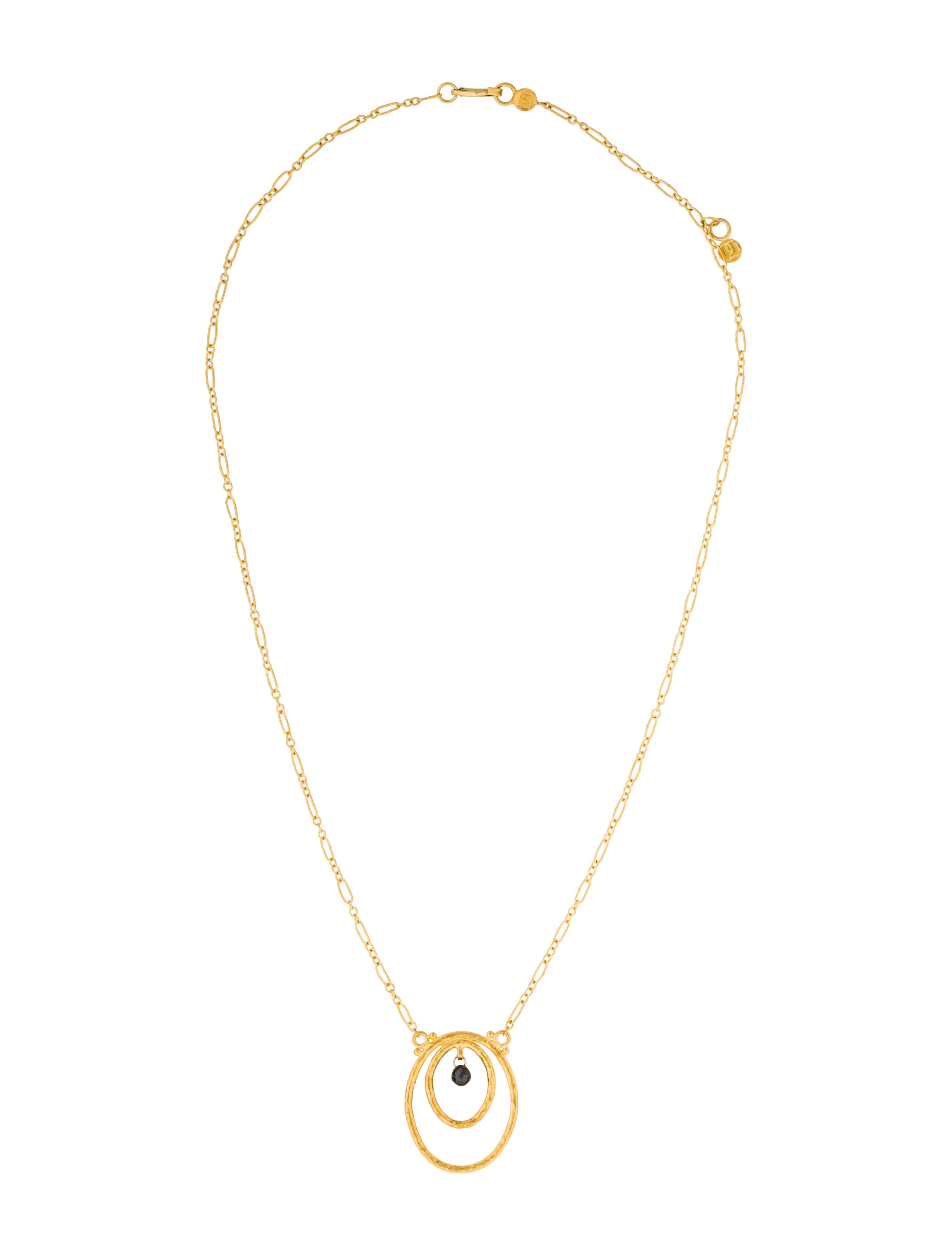 Gurhan Glow Double Oval Black Diamond Pendant Necklace Necklaces