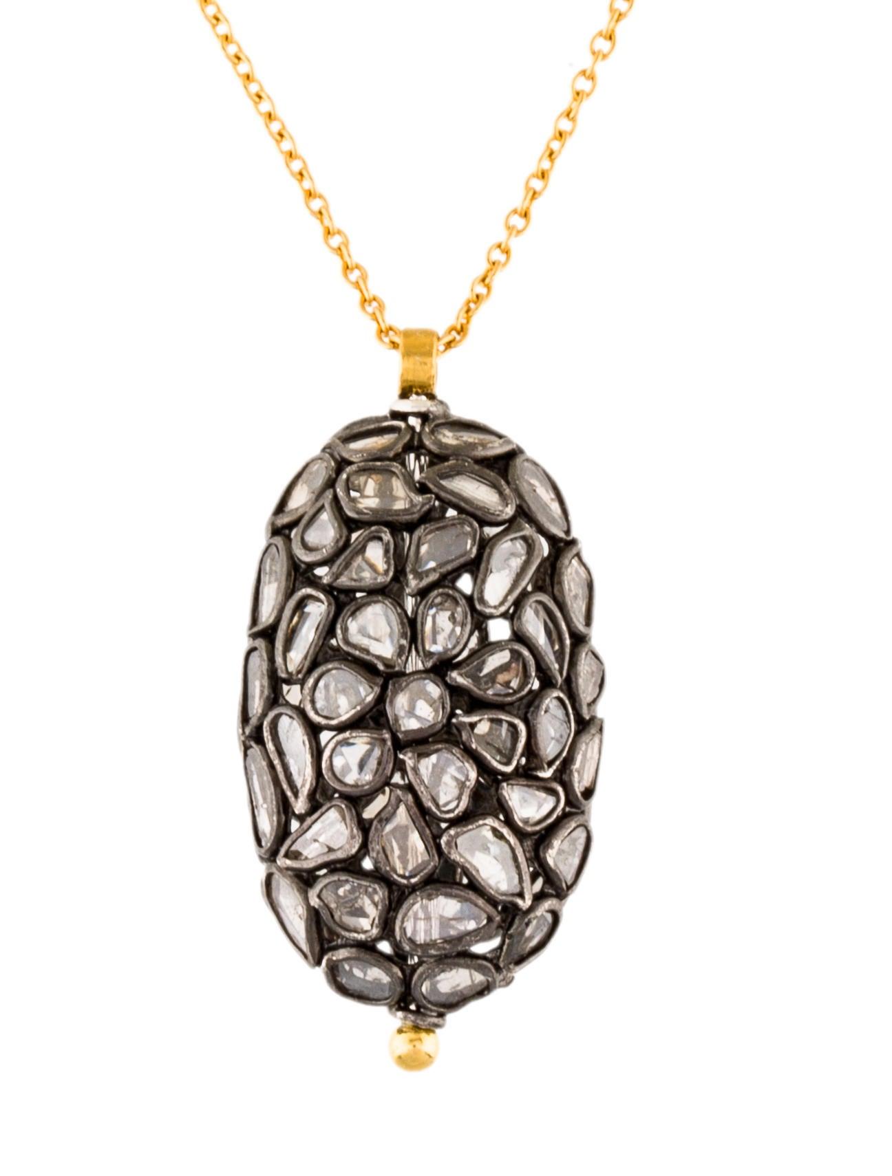 Gurhan 22K Spell Patiche Diamond Slice Pendant Necklace w ...