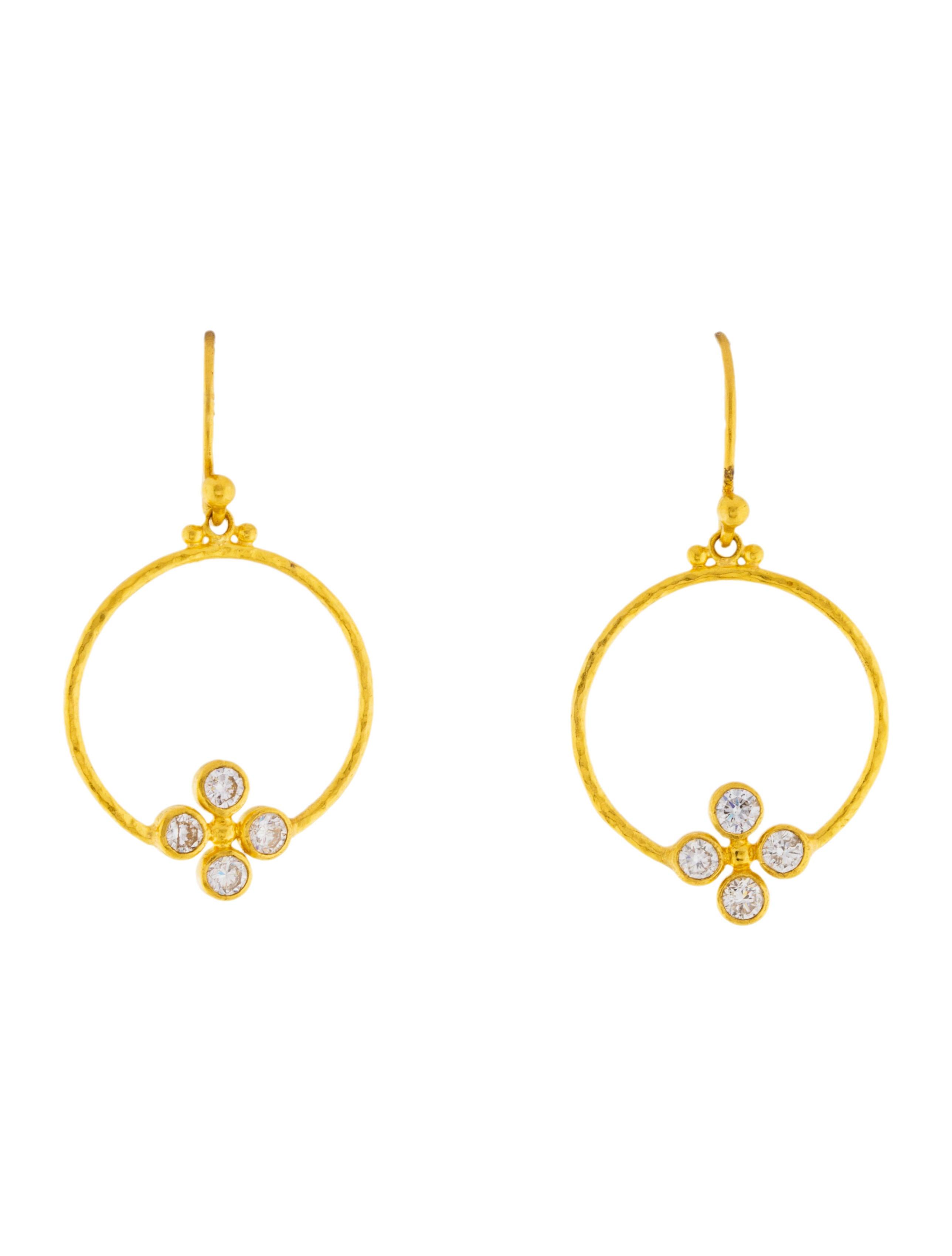 Gurhan Clover 24k Circular Diamond Drop Earrings fcI5Glcj