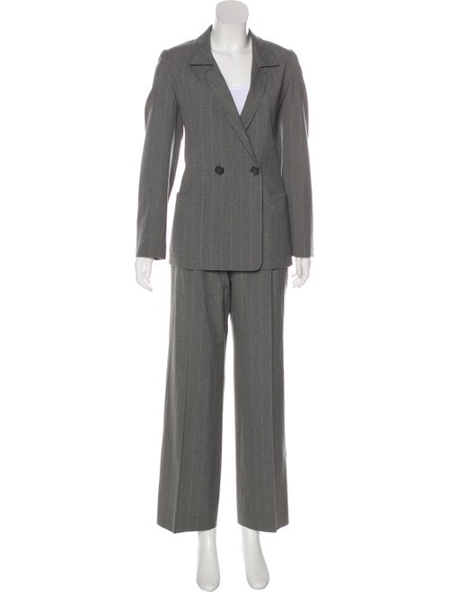 Guy Laroche Pinstriped Flared Pantsuit Grey