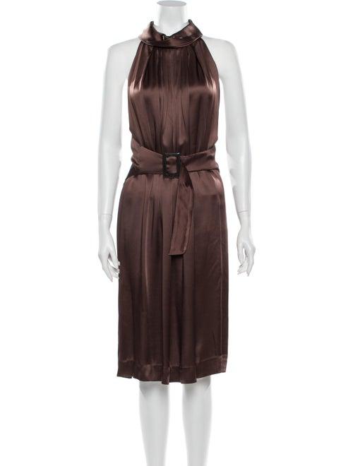 Guy Laroche Halterneck Midi Length Dress Brown