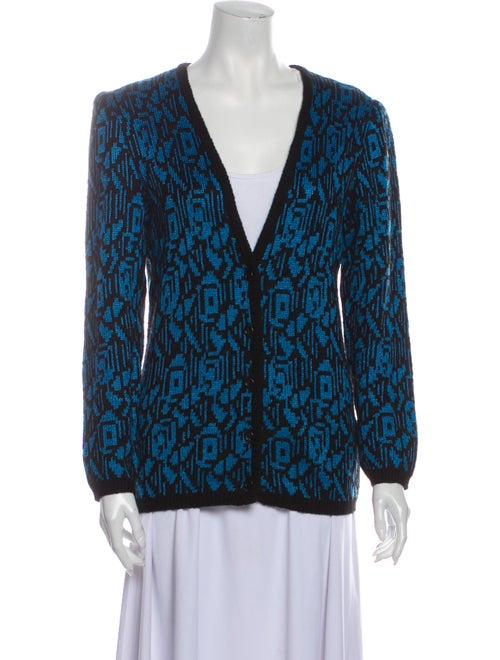 Guy Laroche Printed V-Neck Sweater Blue