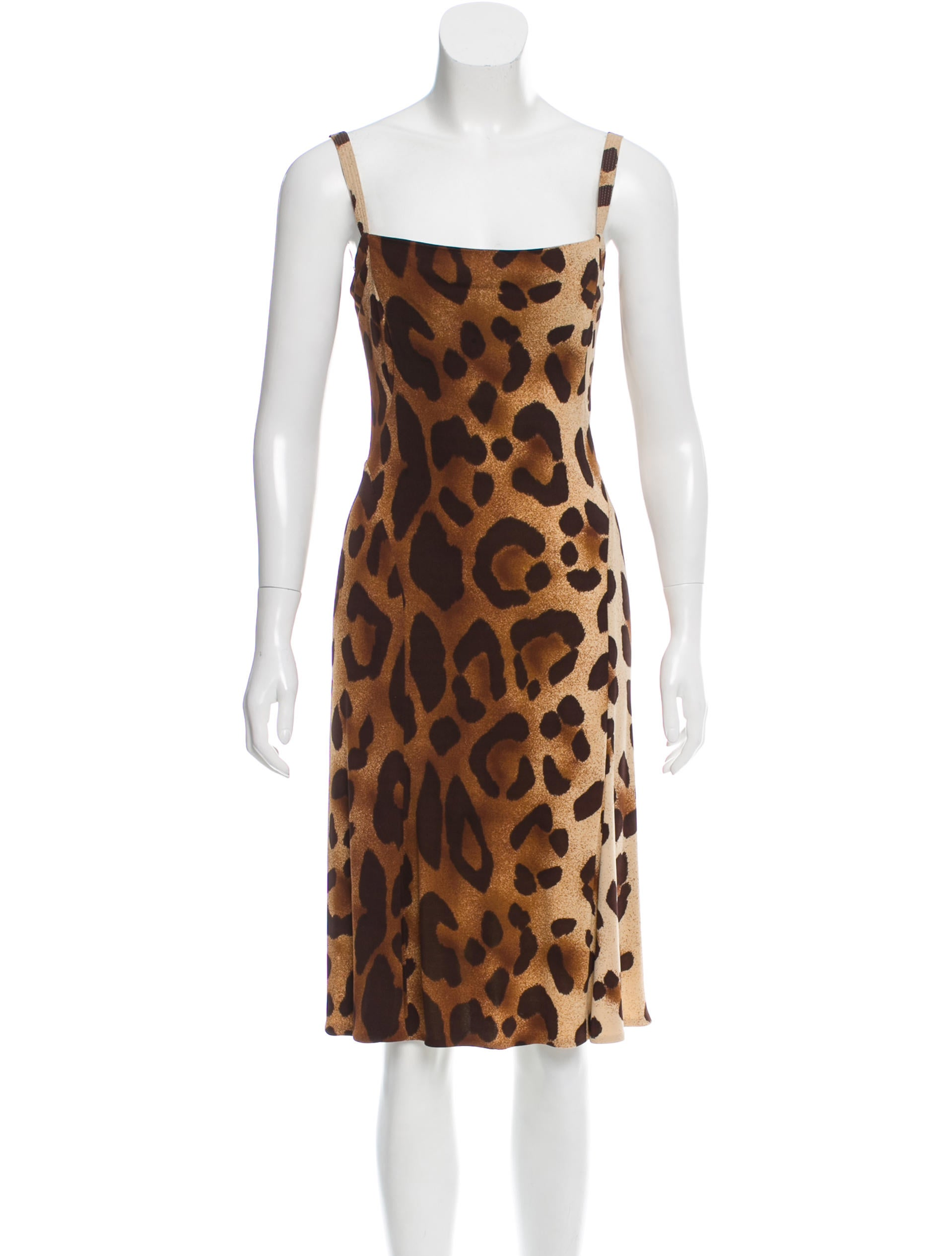 Gianni Versace Leopard Print Midi Dress Clothing