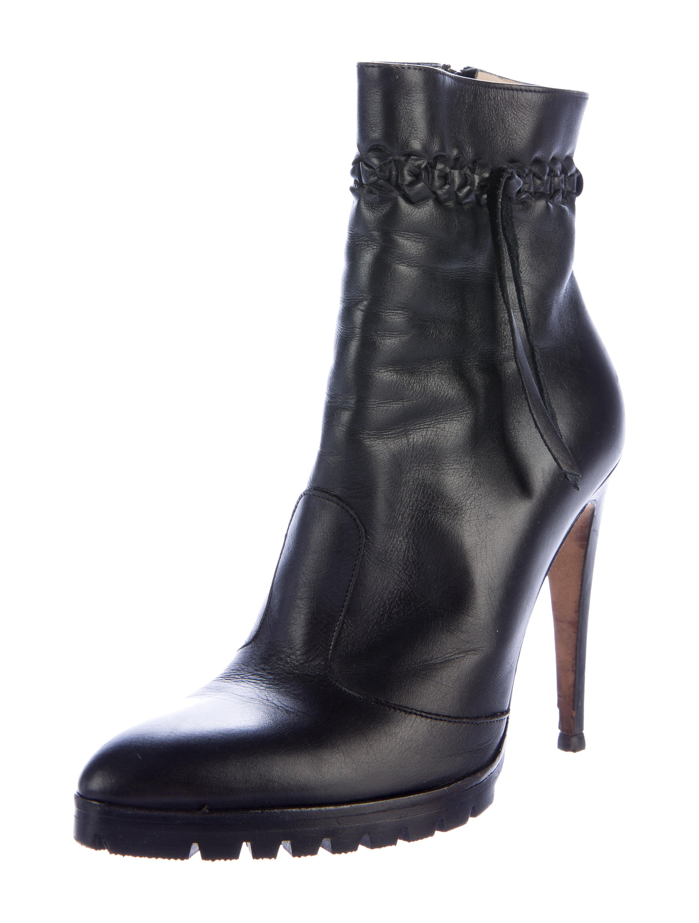 Gianni Versace Woven Trimmed Ankle Boots Shoes  : GVE204402enlarged from www.therealreal.com size 2256 x 2976 jpeg 458kB
