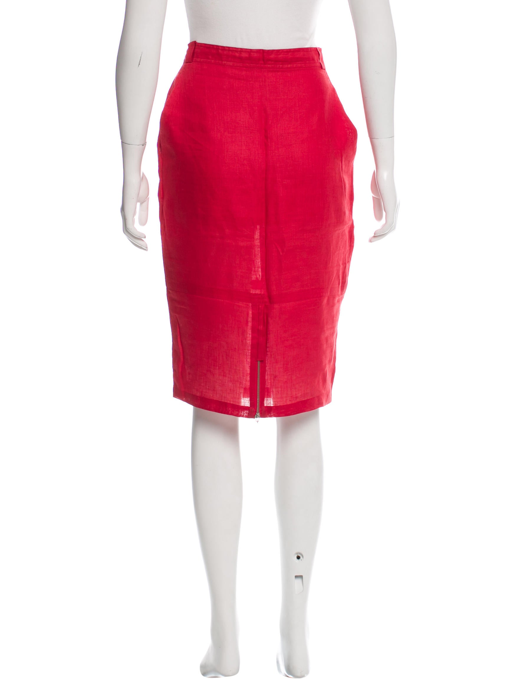 Gianni Versace Linen Knee Length Skirt Clothing  : GVE205803enlarged from www.therealreal.com size 1747 x 2305 jpeg 133kB