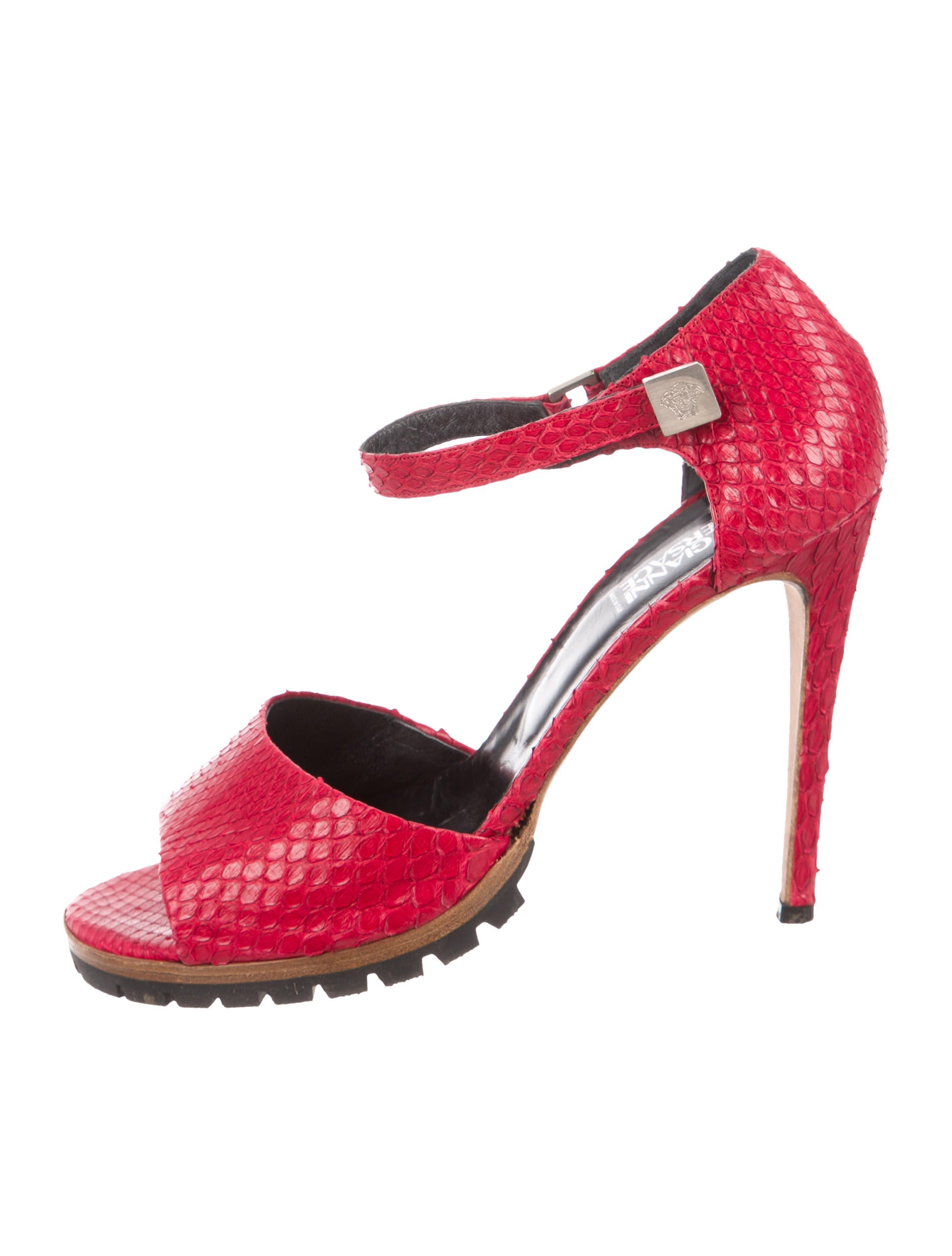 Gianni Versace Snakeskin Ankle Strap Sandals pay with paypal cheap sale with mastercard ssekVQ