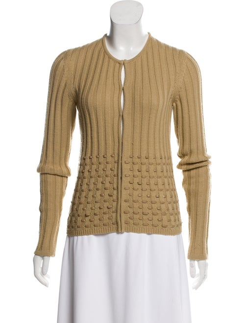 Gianni Versace Leather-Accented Wool Cardigan Nude