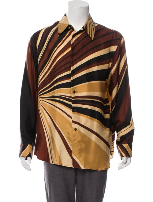 Gianni Versace Silk Printed Dress Shirt brown