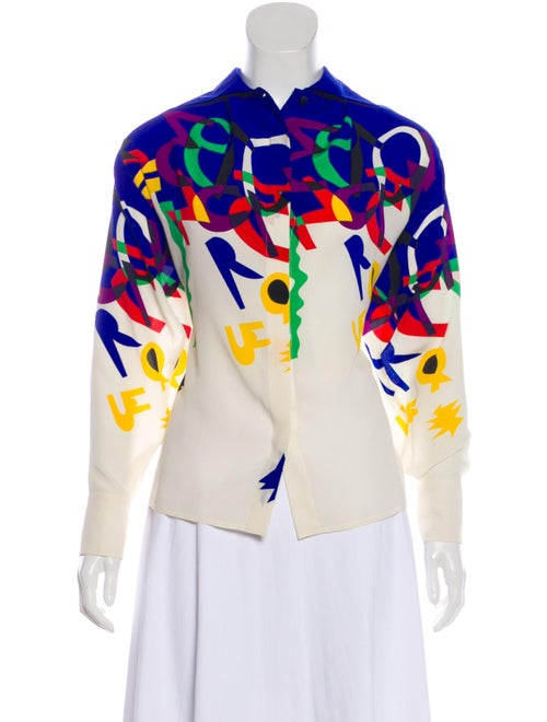 Gianni Versace Silk Abstract Shirt multicolor