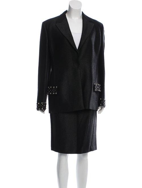 Gianni Versace Vintage Embellished Skirt Set Black