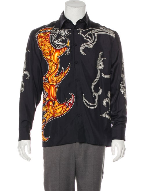 Gianni Versace Silk Printed Shirt black
