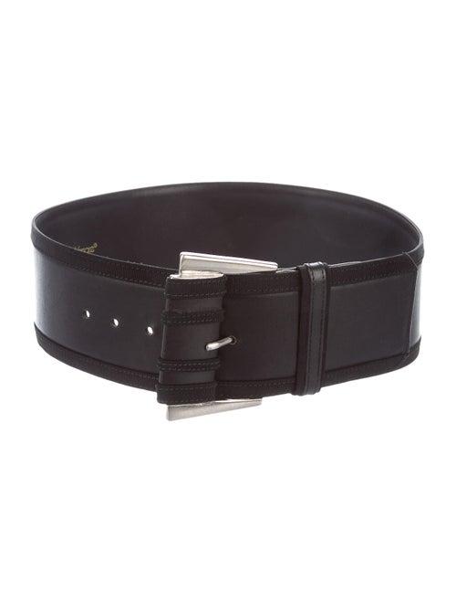 Gianni Versace Leather Wide Waist Belt Black
