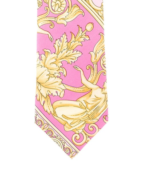 Gianni Versace Baroque Silk Tie pink