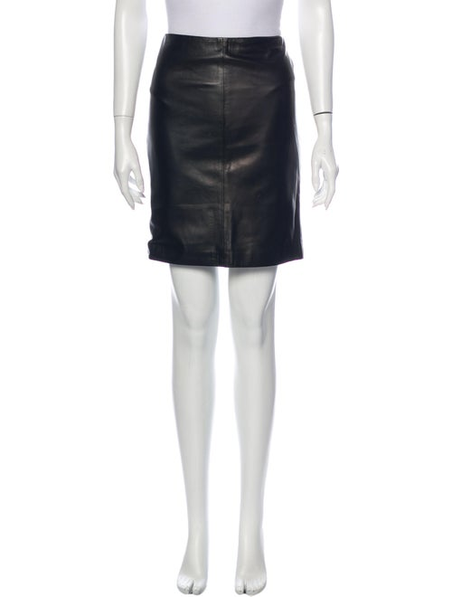 Gianni Versace Leather Mini Skirt Black