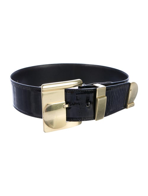 Gianni Versace Patent Leather Wide Belt Black