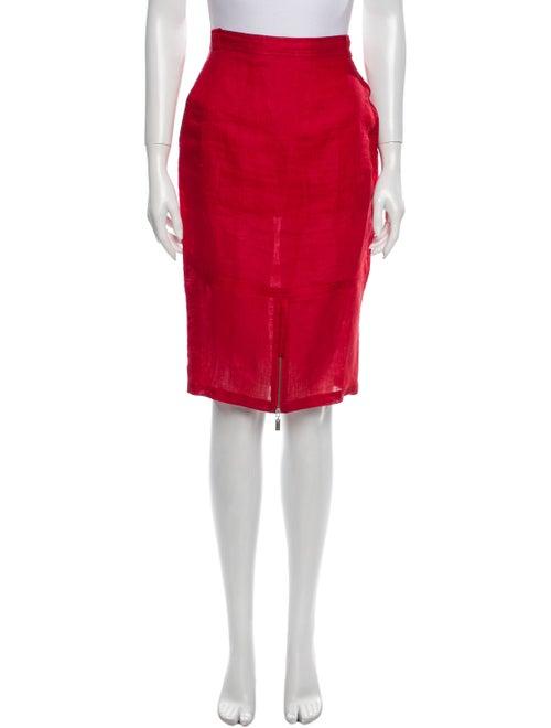 Gianni Versace Linen Knee-Length Skirt Red
