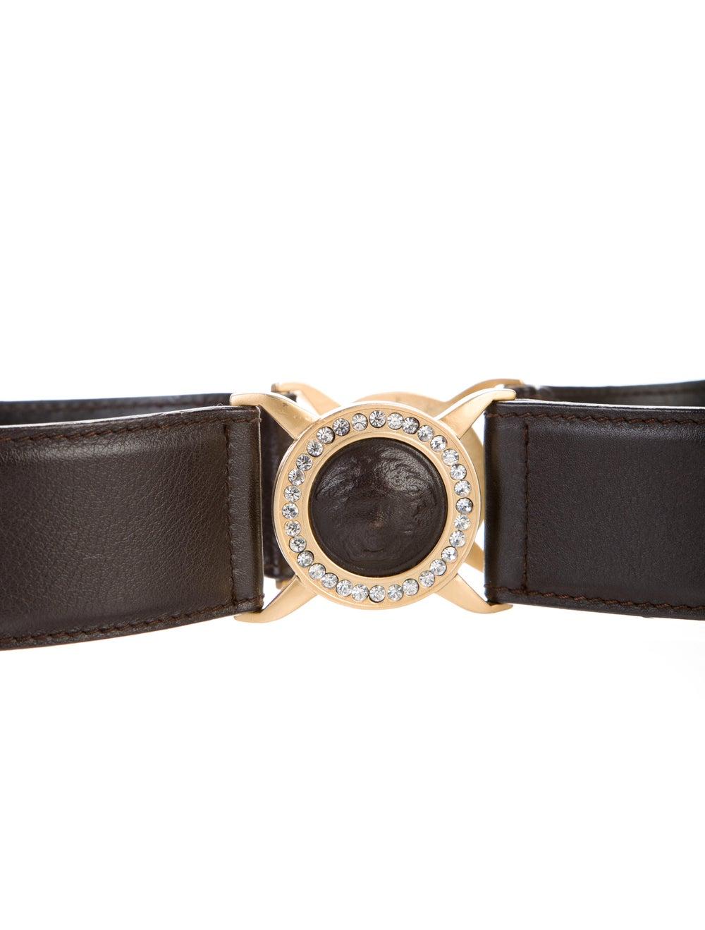 Gianni Versace Leather Crystal Embellishments Bel… - image 2