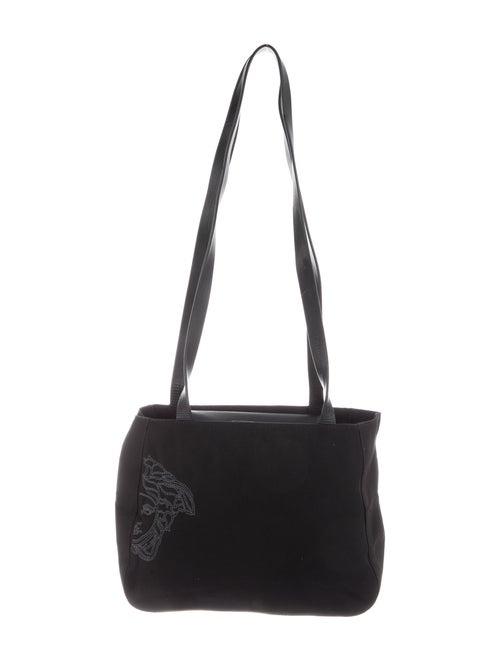 Gianni Versace Nylon Embroidered Shoulder Bag Blac