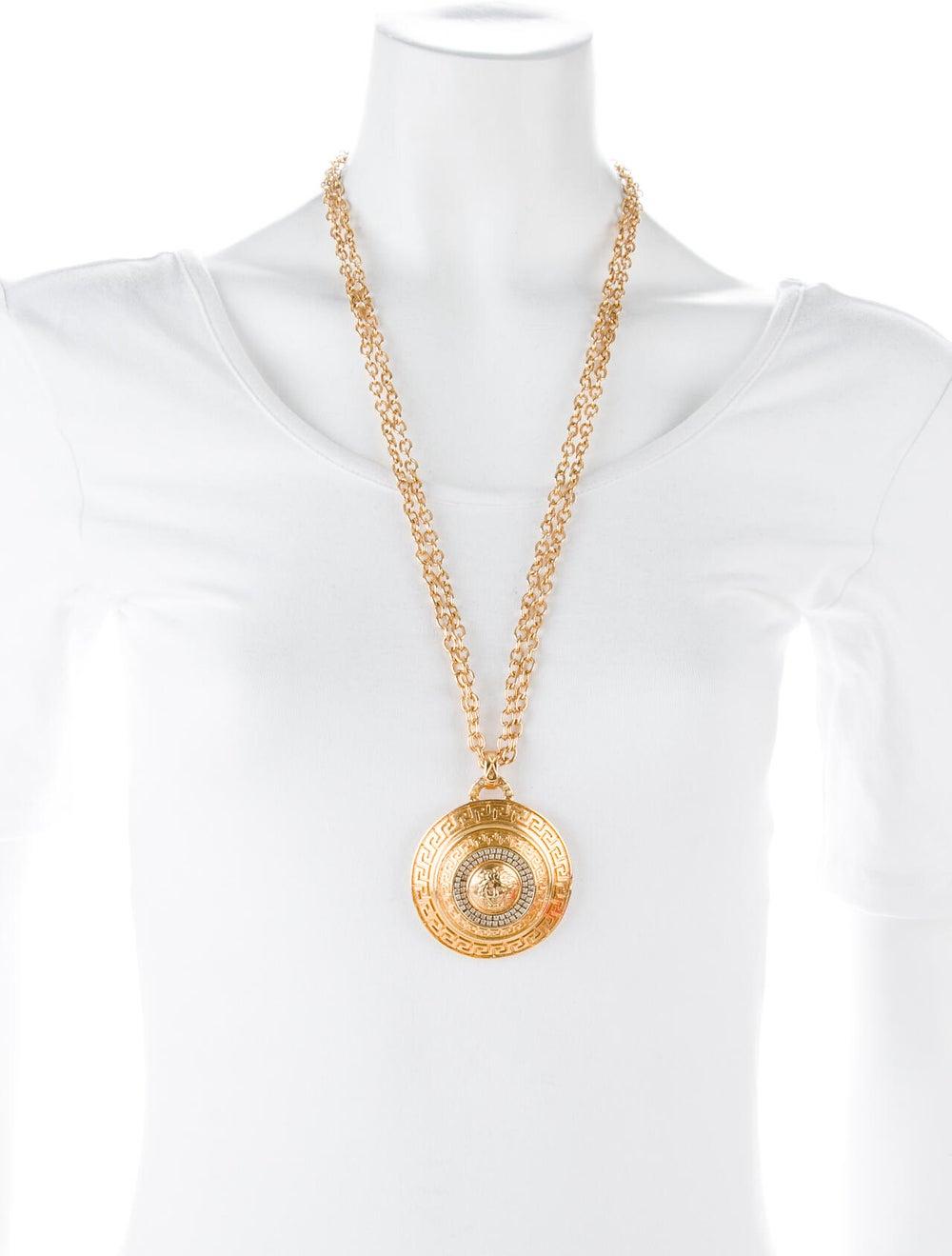 Gianni Versace Vintage Crystal Jumbo Medusa Medal… - image 3