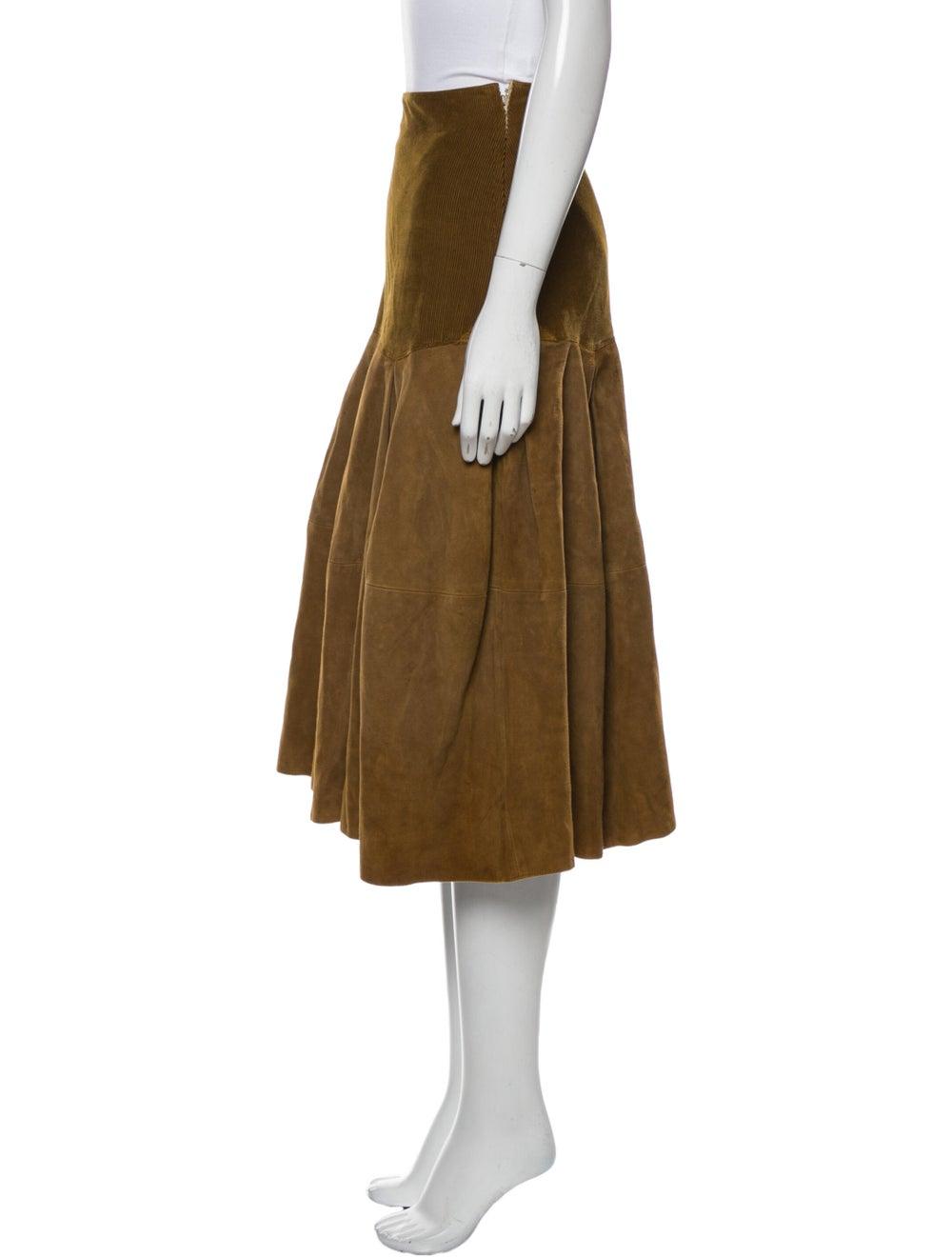 Gianni Versace Vintage Midi Length Skirt Brown - image 2