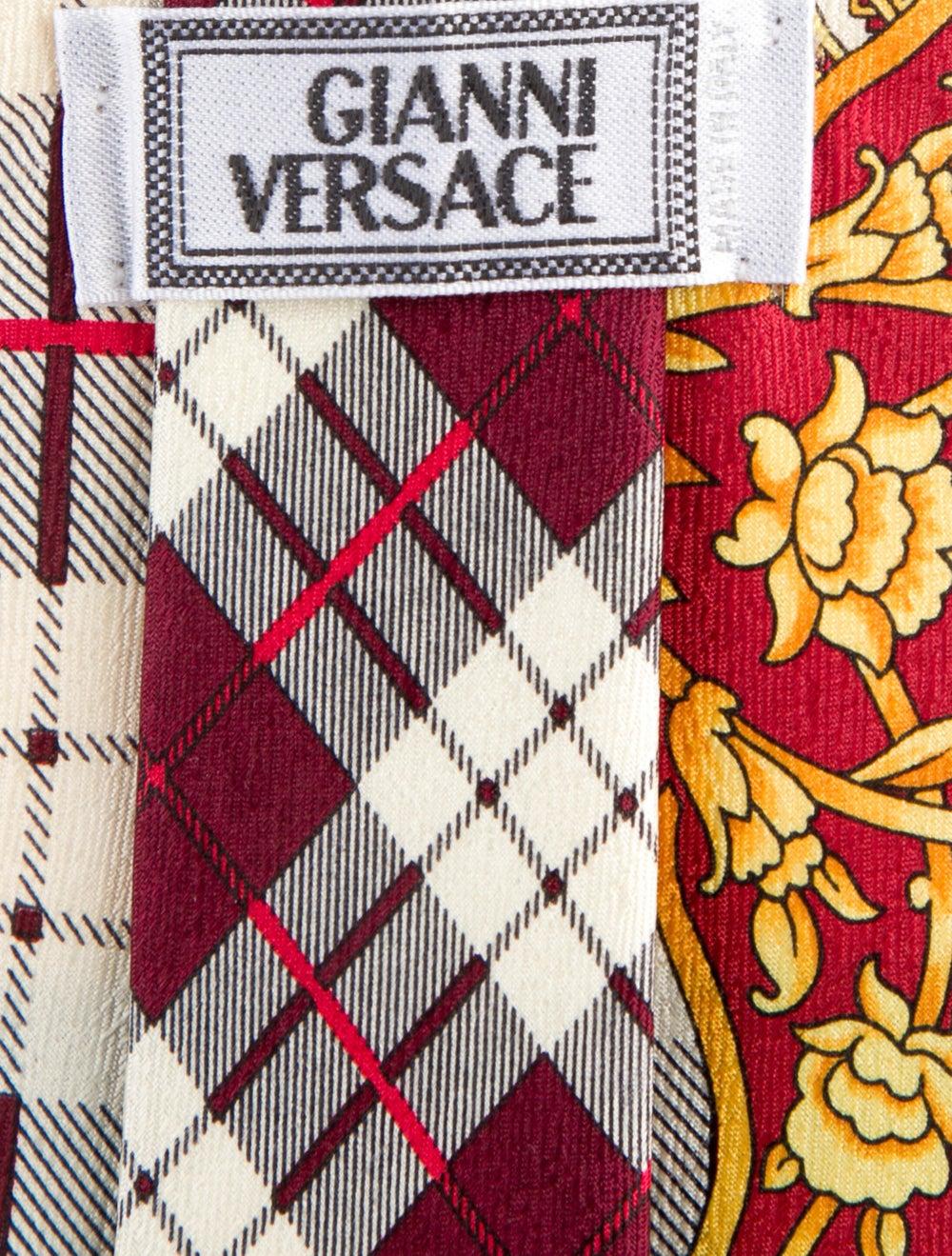 Gianni Versace Red Silk Gianni Versace Pattern Ti… - image 2