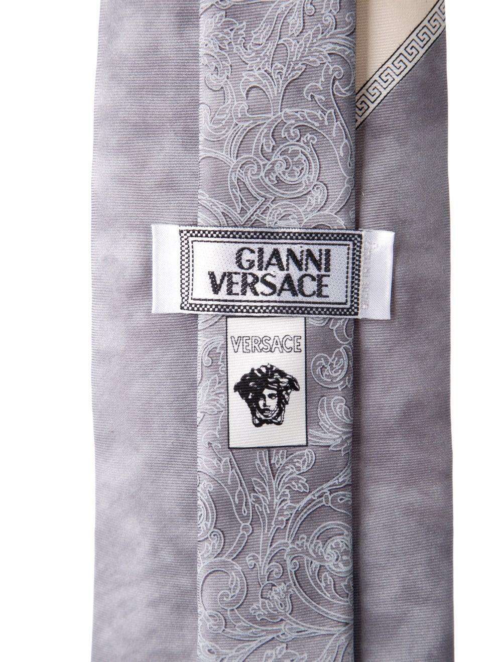 Gianni Versace Silk Printed Tie grey - image 2
