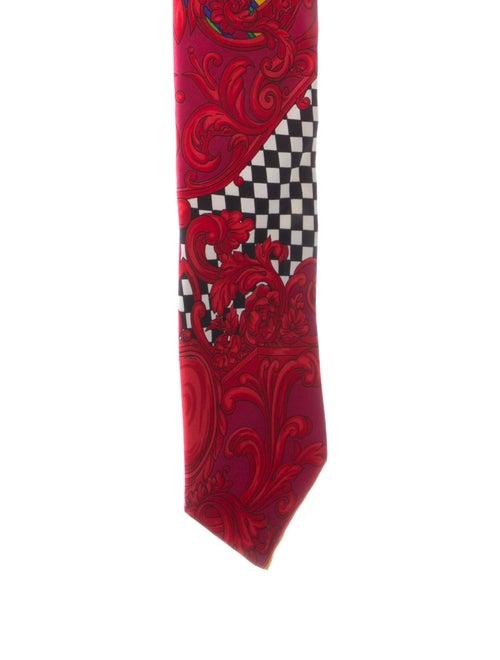 Gianni Versace Silk Printed Tie red